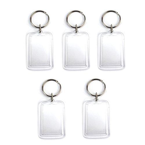 Pinzhi 5x Schlüsselring Klar Acryl Plastik Leer Foto Keyring Schlüsselanhänger 50x33mm