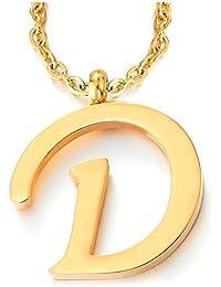 Nombre Inicial Letra del Alfabeto A-Z Colgante, Collar de Mujer Hombre, Acero Inoxidable Color Oro, 50cm Cadena Cuerda