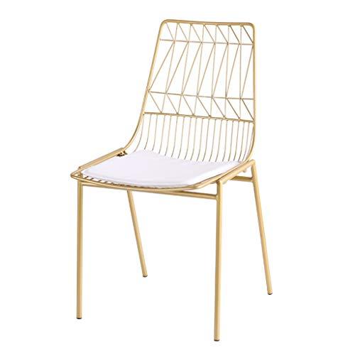 XINGPING Ins Nordic Tee Shop Draht Stuhl Stuhl Schmiedeeisen Kreative Freizeit Cafe Tisch Und Stuhl Zurück Stuhl Designer Stuhl (Farbe : Gold)