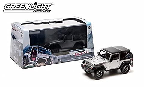 2013 JEEP WRANGLER RUBICON (Billet Silver Metallic) * Rubicon 10th Anniversary * 2014 Greenlight Collectibles 1:43 Scale Die-Cast Vehicle & Custom Display Case