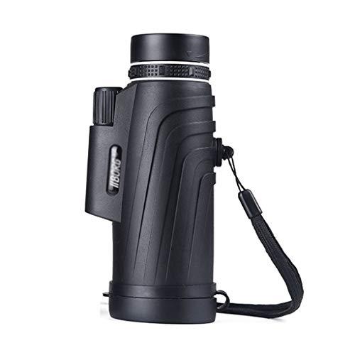 Monokulare Tragbarer Reisespiegel Outdoor Sightseeing Teleskop 12 * 50 Low Light Level Nachtsichtbrille Kinder Erwachsene Monokulare mit Stativ und Tragetasche (Color : Black, Size : 15.5 * 6.5CM)
