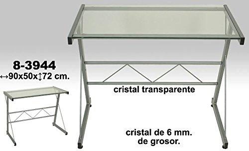 DonRegaloWeb - Mesa de ordenador de metal y cristal de 6mm de grosor e