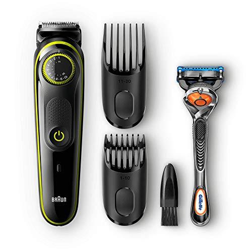 Braun Barttrimmer und Haarschneider BT3041, 39 Längeneinstellungen, inkl. Gillette Rasierer, schwarz/grün