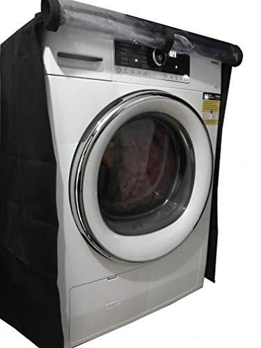 KHOMO Gear - Housse pour lave-linge et sèche-linge à chargement frontal, machine à laver hublot - plastique imperméable et protection contre la poussière - taille universelle - noir et transparent