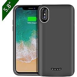 """Coque Batterie Compatible avec iPhone X, BeeFix 6000mAh Power Bank Rechargeable étui de Chargeur Prolongée Housse de Batterie Portable Compatible avec iPhone X (5.8""""), Noir"""