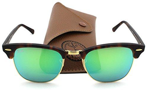 Ray-Ban RB3016 Clubmaster Flash Series Unisex Sunglasses (Sand Havana Frame / Green Flash Lens 114519, 51)