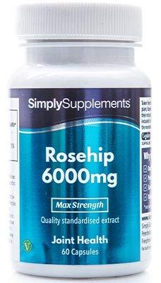 Hagebutte 6000mg - 60 Kapseln - Versorgung für bis zu 2 Monaten - hilft gesunde Gelenke, Unempfindlichkeit und Magenprobleme zu unterstützen - Simply Supplements -