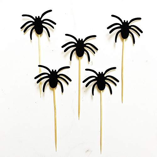 CRAZYON 5 Stück schwarzer Spinnen Kuchen Cupcake Toppers EssensTipps für Party Dekorationen Halloween-Dekoration