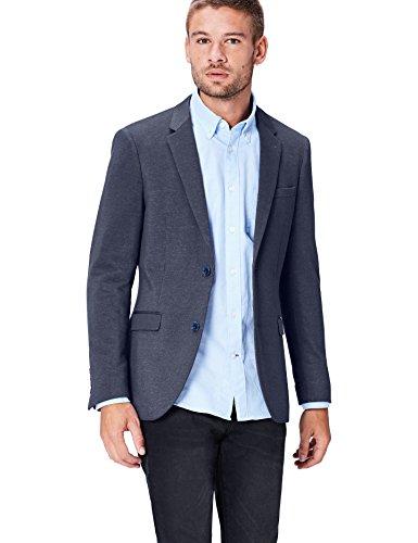 Navy Zwei-knopf-blazer-jacke (FIND Blazer Herren Slim Fit, mit zwei Knöpfen, Blau (Navy), 44R)