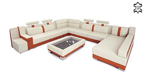 Ledersofa Wohnlandschaft Leder XXL U-Form creme / orange Big Sofa Ledercouch Designsofa KÖLN
