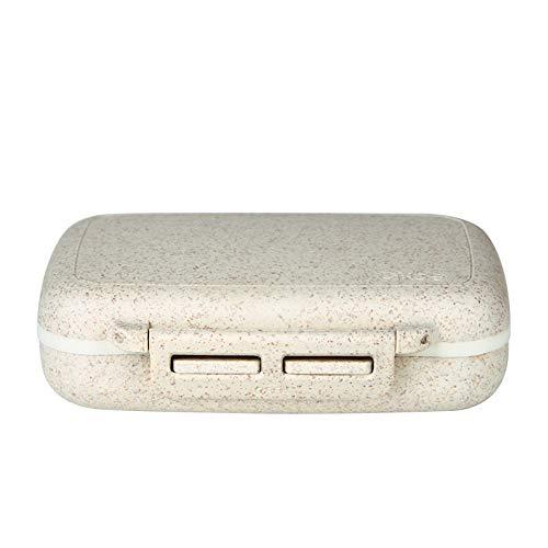 Stroh Pillendose (žMLŽ Pillbox Wassertasse, Tragbare Pille Box Kleine Pille Box Mini Eine Woche Füllbox Mit Pillen Pille Medizin Box - Weiß)