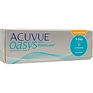 Acuvue Oasys 1-Day for Astigmatism Tageslinsen weich, 30 Stück, Torisch Toric, Silikon-Hydrogel
