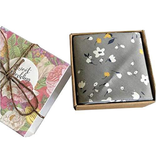 Chinashow Womens/Girls Vintage Floral Print Baumwolle Taschentücher Floral Taschentuch mit Geschenkbox A04