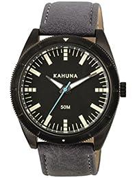 Kahuna Men's Quartz Watch with Black Dial Analogue Display and Grey PU Strap KUS-0120G