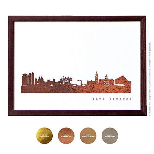 Design Kunstdruck Amsterdam Wandbild Poster, 4 Metallic Farben DIN A4 A3 Geschenk-Idee Jahrestag Hochzeit Erinnerung -