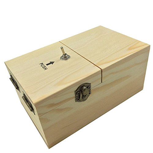 CYNDIE Totalmente ensamblado se apaga caja inútil Déjame caja de máquina solo con madera real para regalos Geek o juguetes de escritorio