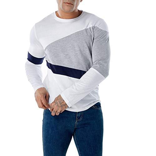 TEELONG Hemd Herren Mode Lässig Patchwork Schlank Lange -