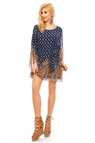 Mayaadi Oversized Tunika-Kleid Minikleid Longbluse im Poncho Look (One Size (36-42), Dunkelblau)