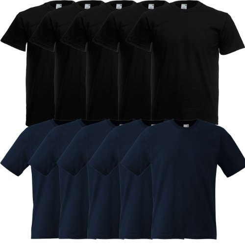 Fruit of the Loom Original Full-Cut T Rundhals T-Shirt F110 10er Pack, Größe:XL;Farbe:5x black 5x deep navy - Full Cut Boxer Shorts