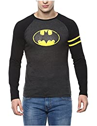 Urbano Fashion Men's Grey Superhero (Batman) Round Neck Full Sleeve T-Shirt