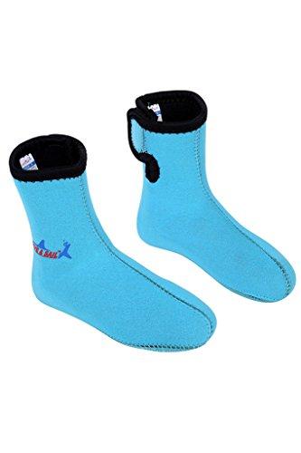 Cokar Neoprensocken Kinder 3MM Tauchsocken Jungen Kinder Strandschuhe Wassersport Surfschuhe Large(19-22cm) Blau