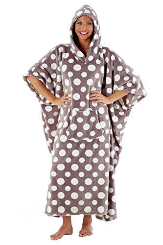 Damen Inspirations mit Kapuze Luxus gepunktet Liege Poncho - Grey-White Spot, Einheitsgröße -