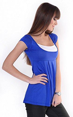 Zeta Ville - Damen Zweilagiges Still Jersey T-Shirt Top - Kurzarm - 960z Königsblau