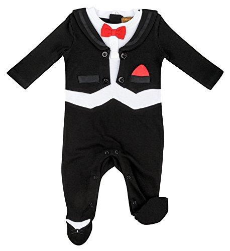 Klassische Smoking-hose (anja-wendt Anzug Junge Baby Onesie Strampler Frack Smoking langärmlig Partys Feiern Fliege (68 / 6 - 9M))