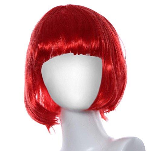FEITONG Frauen Perücken Maskerade Party Bang Bob Haar Kurze Gerade Haar Perücken (Länge: 29cm, Rot) (Regenbogen Helle Halloween Kostüme)