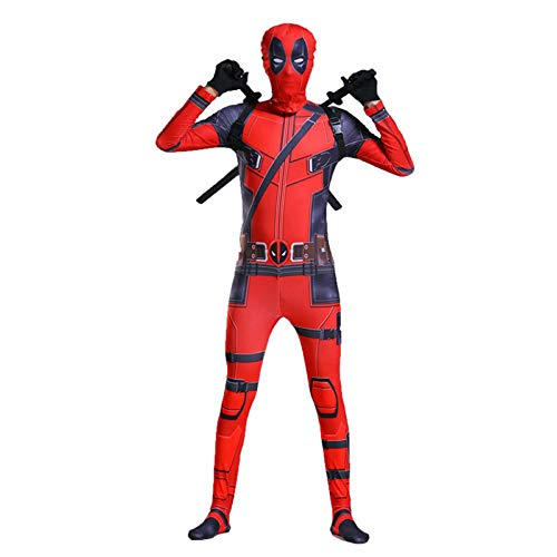 Kostüm Deadpool Girl - ZHANGQI Deadpool Kostüm Requisiten Cartoon Enge Kleidung Set Halloween Avengers Bühne Anime Kostüm Geschenk,Red-180