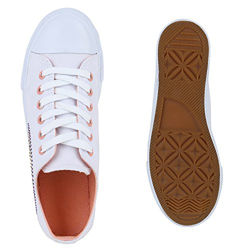 Damasco Sapatilhas Branco Brancas Atam Lazer Strass Senhoras Sapatos Pano x0qPawT