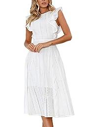 Vestidos Blanco Con Volantes Mujer LHWY, Vestidos Huecos De Cuello Redondo Manga Corto Vestido De Fiesta…
