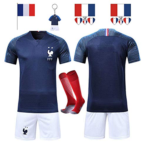 SHOLOV Maillots de Football Hommes Enfants T-Shirt FFF 2 Étoiles Football 2018 Coupe du Monde France Vêtements de Football Champion avec Chaussettes et Accessoires