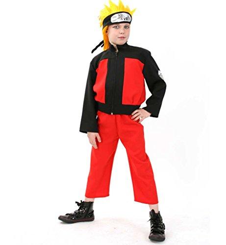 KarnevalsTeufel Kinderkostüm Katsumi schwarz-rot mit Stirnband Ninja-Krieger Stammeskämpfer (Lego Ninjago Roter Ninja Kostüm)