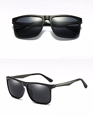 Sunglasses new men's aluminum-magnesium high-definition coated polarized glasses,Black sand,Grey