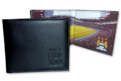 Manchester City F.C. Portefeuille en cuir Motif stade en relief Noir