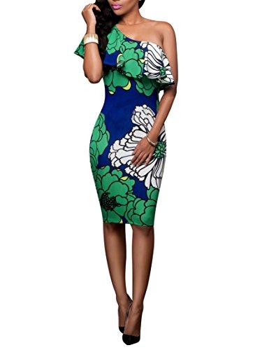 online store 1fe92 50dbb Gladiolus Vestiti Estivi Donna Abito Elegante Abito Cocktail Abito  Rockabilly Donna Abito Fiori Una Spalla a Balze