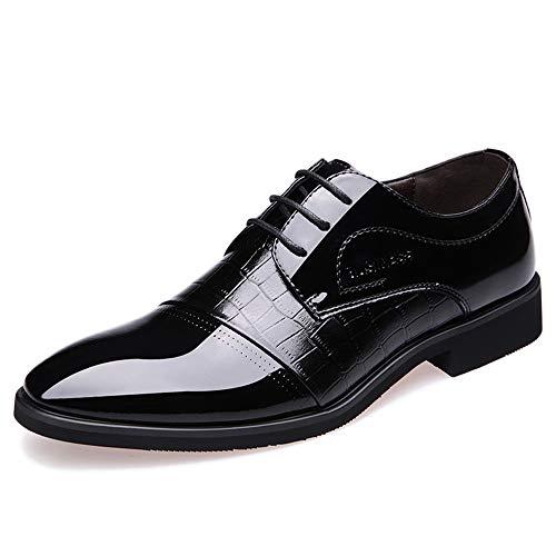 GBRALX Scarpe da Uomo Uniformi Scarpe Stringate a Punta Stringate Scarpe Derby in Pelle Scarpe da Ufficio Oxford da Cerimonia,Black-39