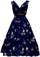 Ladies 1940's 1950's Vintage Retro Style Blue Bird Print Full Circle Swing Tea Dress