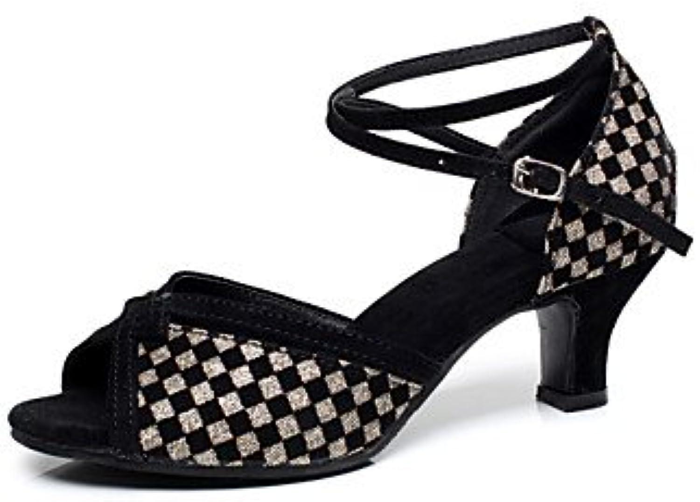 Chaussures de danse ( Noir / Bleu Or / Or Bleu ) - Non Personnalisables - Talon Cubain - Flocage - Latine / SalsaB072828M47Parent 59bf2e