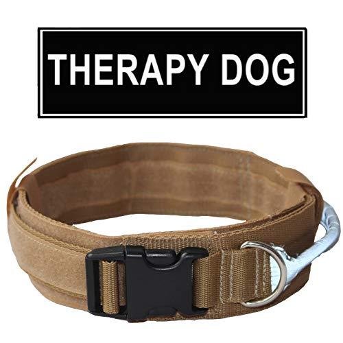 haoyueer taktisches Hundehalsband verstellbar Militär-Trainingshalshalsband mit Kontroll-reflektierendem Griff mit Patch Therapie Hund, M, Khaki -
