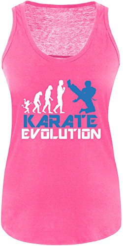 EZYshirt® Karate Evolution Damen Tanktop Fuchsia/Weiss/Blau
