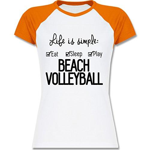 Volleyball - Life is simple Beachvolleyball - zweifarbiges Baseballshirt / Raglan T-Shirt für Damen Weiß/Orange