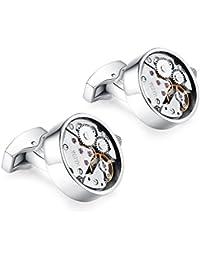 Honey Bear gemelos reloj relojería Mecanismo Steampunk de relojería para hombre camisa Redonda , acero inoxidable regalo de boda de negocios con caja