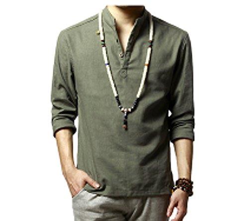 WSLCN Homme Henley Shirt en Lin Shirt Décontracté Rollant Manches Demi Patte de Boutonnage Chiné Col Mao T-Shirt Manches Longues Armée Verte FR M (Asian XL)