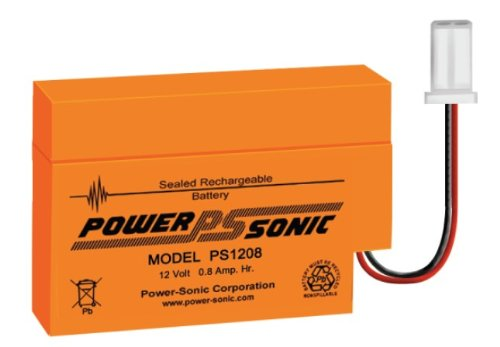 Bleiakku - Akku Powersonic PS 1208 - Powersonic PS1208 - Powersonic PS-1208 - 12V 0,8Ah - Rechargeable Sealed Lead Acid (SLA) Battery - AGM / Blei Vlies Sealed Lead Acid-agm