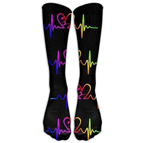 DEFFWBb Color Guard Heartbeat Rainbow Gay Love Men's Women's Comfort Casual Tube Socks Long Socks Crew Socks Unisex 50cm - Owl-guard