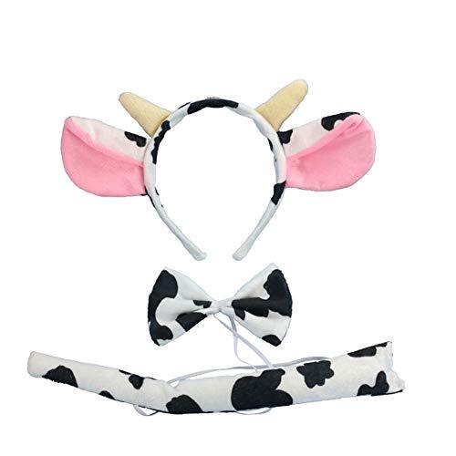 Stirnband Kostüm Kuh - 3 STÜCKE Halloween Lustige Kostüm Stirnband Ohr mit Schwanz Krawatte Headwear Kuh Giraffe Esel Schwein Frosch Hoop Nase Schwanz Stirnband Erwachsene Kinder Leistung Requisiten