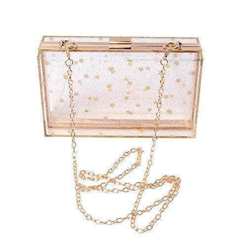 Abend Handtaschen Kupplungen (WEDDINGHELPER Frauen Acryl Transparent Gold Star Abend Taschen Handtaschen Kupplung Vintage Banquet Handtasche (transparent))