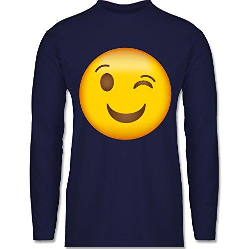 Shirtracer Comic Shirts - Zwinker Emoji - Herren Langarmshirt Navy Blau